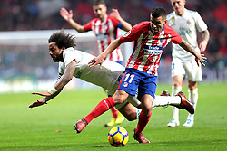 Marcelo (L) jugador del Real Madrid pele un balón ante Correa Jugador del Atlético de Madrid.en el Atlético de Madrid vs Real Madrid jornada 12 del futbol español realizado en el estadio SWanda metropolitano. Madrid, Spain 18/11/2017.Foto: Juan Carlos Rojas..Marcelo player of Real Madrid fight  againt Correa.Player Atlético de Madrid during the Spanish league football match  12 between Atlético de Madrid vs Real Madrid at Wanda Metropolitano  stadium in Madrid, Spain, November 18 2017. (Credit Image: © Juan Carlos Rojas/Xinhua via ZUMA Wire)