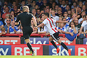 Brentford defender John Egan (14)  celebrating scoring 2-0 during the EFL Sky Bet Championship match between Brentford and Ipswich Town at Griffin Park, London, England on 13 August 2016. Photo by Matthew Redman.