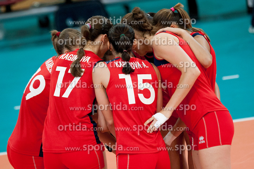 Players of Azerbaijan during volleyball match between National Teams of Slovenia and Azerbaijan of 2014 CEV Volleyball European League Women - Pool A, on July 5, 2014, in Arena Ljudski vrt Lukna, Maribor, Slovenia, Slovenia. Photo by Urban Urbanc / Sportida