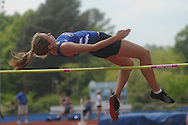 Virginia Terry high jumps at the Class 5A District Track Meet at Oxford High School on Thursday, April 22, 2010 in Oxford, Miss.