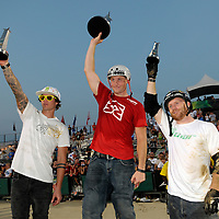 Ryan Guettler, second, Cameron White, first and Ryan Nyquist, third, during the trophy presentation at the AST Dew Tour Right Guard Open BMX Dirt Finals Friday, July 18, 2008 in Cleveland, OH.