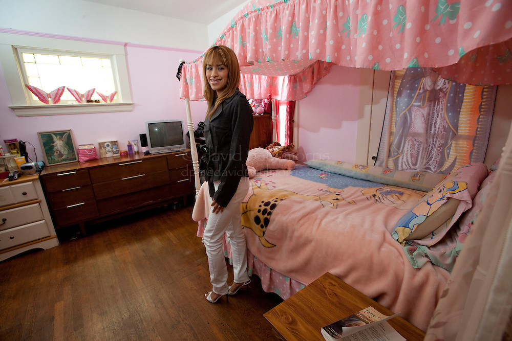 SAN FRANCISCO, CA - AUG 2:  Katheryn Conde, 17 poses for a photograph in her bedroom August 2, 2009 in San Francisco, California. Photograph by David Paul Morris