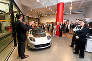 Willem Houck, ParkPod speaking at MCC Transportation Transformation Series: Opening Reception at Tesla Showroom held  May 11, 2011 at Tesla Motors New York, 511 West 25th Street, New York. This exciting series was presented by MCC's Green Business Committee, MCC's Tech and Innovation Committee and E3NYC. The MCC offers the business community a variety of perspectives of the direction of clean transportation in New York and beyond. The Tesla Roadster is the world's only automobile that offers supercar performance without supercar emissions. Engineered for performance and efficiency, it accelerates from 0 to 60 in 3.7 seconds, delivering 295 lbs-ft. of torque without using a drop of gasoline. The Roadster travels 245 miles on a single charge and plugs into nearly any outlet in the world - allowing for uncompromised electric driving. The event was sponsored by Con Edison Commercial & Industrial Energy Efficiency Programs for sponsoring the MCC Green Business Committee for 2011.
