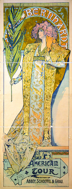Alphonse Marie Mucha, 1860-1939. French graphic artist . Art nouveau poster showing actress Sarah Bernhardt holding palm frond