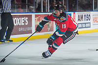 KELOWNA, CANADA - NOVEMBER 25: Dillon Dube #19 of the Kelowna Rockets skates with the puck against the Medicine Hat Tigers on November 25, 2017 at Prospera Place in Kelowna, British Columbia, Canada.  (Photo by Marissa Baecker/Shoot the Breeze)  *** Local Caption ***
