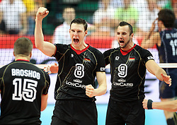 07.09.2014, Spodek, Katowice, POL, FIVB WM, Deutschland vs Süd Korea, Gruppe B, im Bild Marcus Bohme, Gyorgy Grozer, radosc // during the FIVB Volleyball Men's World Championships Pool B Match beween Germany and South Korea at the Spodek in Katowice, Poland on 2014/09/07. <br /> <br /> ***NETHERLANDS ONLY***
