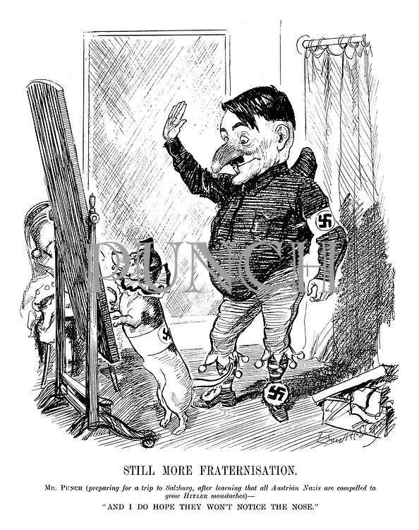 "Still More Fraternisation. Mr Punch (preparing for a trip to Salzburg, after learning that all Austrian Nazis are compelled to grow Hitler moustaches) - ""And I do hope they won't notice the nose."""