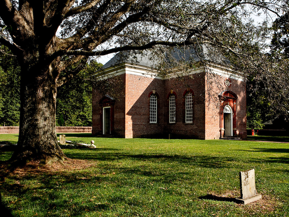 "This perfectly symmetrical central-plan Georgian church was funded by Robert ""King"" Carter of Virginia, and built in part of his plantation, now in the town of Weems, in 1735.  His tomb and those of some of his wives are on the church property.  Still used for worship, the structure is lovingly restored and maintained by a nonprofit volunteer society."