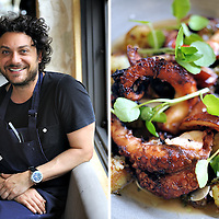 Chef Jonathan Barthelmess (left), Grilled Octopus (right), at his restaurant Apollo, Sydney, Australia. Copyright 2014 Terence Carter / Grantourismo. All Rights Reserved.