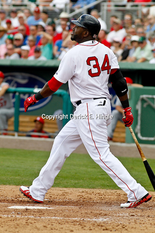 March 15, 2012; Fort Myers, FL, USA; Boston Red Sox designated hitter David Ortiz (34) against the St. Louis Cardinals during a spring training game at Jet Blue Park. Mandatory Credit: Derick E. Hingle-US PRESSWIRE