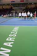 (L-R) Marcin Matkowski &amp; Mariusz Fyrstenberg &amp; Jerzy Janowicz &amp; Radoslaw Szymanik - captain national team &amp; Michal Przysiezny all from Poland during the BNP Paribas Davis Cup 2014 between Poland and Croatia at Torwar Hall in Warsaw on April 5, 2014.<br /> <br /> Poland, Warsaw, April 5, 2014<br /> <br /> Picture also available in RAW (NEF) or TIFF format on special request.<br /> <br /> For editorial use only. Any commercial or promotional use requires permission.<br /> <br /> Mandatory credit:<br /> Photo by &copy; Adam Nurkiewicz / Mediasport