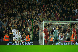 LIVERPOOL, ENGLAND - Wednesday, September 22, 2010: Liverpool's goalkeeper Brad Jones looks dejected as Northampton Town score a goal during the Football League Cup 3rd Round match at Anfield. (Photo by David Rawcliffe/Propaganda)