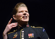 BENSALEM, PA -  MARCH 17:  Staff Sgt. Teresa Alzadon of the U.S. Army Field Band Concert and Soldiers' Chorus performs at Bensalem High School March 17, 2014 in Bensalem, Pennsylvania. (Photo by William Thomas Cain/Cain Images)