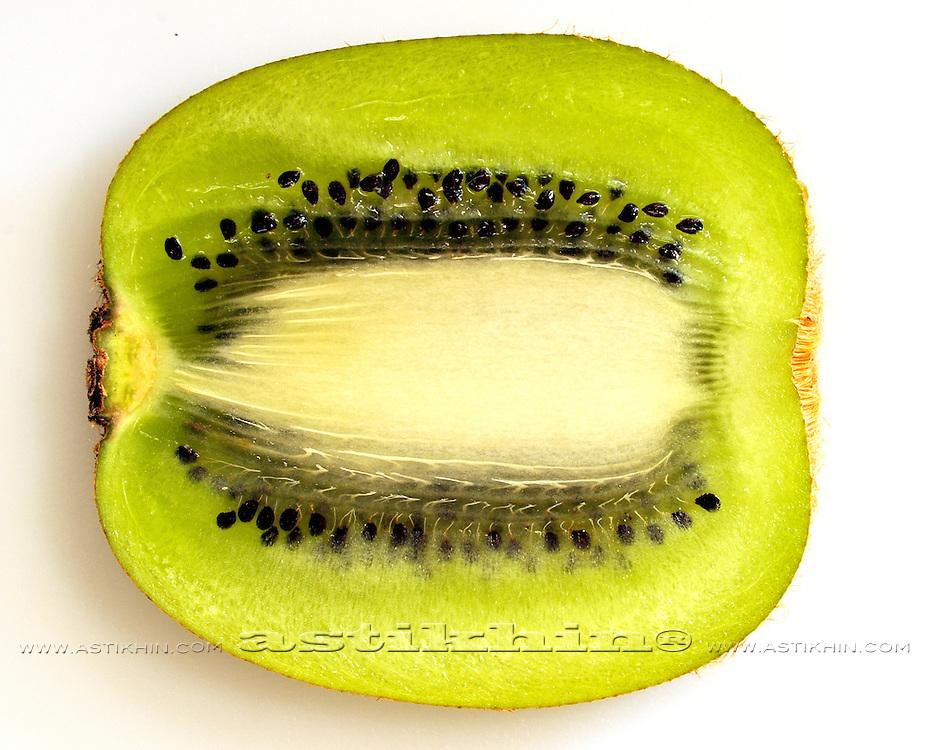 Close up of kiwi slice.
