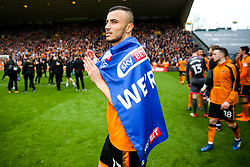 Free to use courtesy of SkyBet. Romain Saiss and the Wolverhampton Wanderers players celebrate at the end of the game after securing automatic promotion from the Sky Bet Championship to the Premier League - Rogan/JMP - 15/04/2018 - Molineux - Wolverhampton, England - Wolverhampton Wanderers v Birmingham City - Sky Bet Championship.