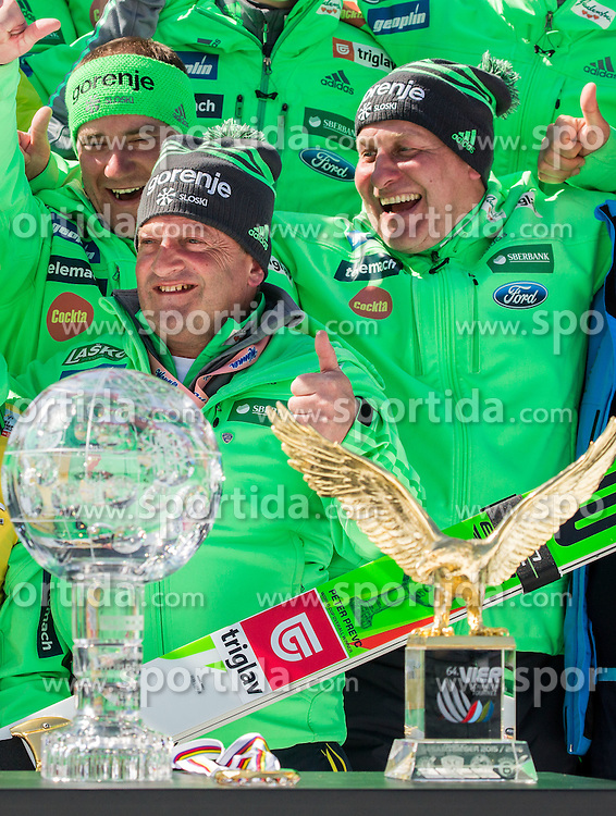 Slovenian coaches Nejc Frank, Jani Grilc, Goran Janus celebrate during trophy ceremony after the Ski Flying Hill Individual Competition at Day 4 of FIS Ski Jumping World Cup Final 2016, on March 20, 2016 in Planica, Slovenia. Photo by Vid Ponikvar / Sportida