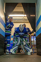 PENTICTON, CANADA - SEPTEMBER 16: Thatcher Demko #35 of Vancouver Canucks prepares to enter the ice against the Edmonton Oilers on September 16, 2016 at the South Okanagan Event Centre in Penticton, British Columbia, Canada.  (Photo by Marissa Baecker/Shoot the Breeze)  *** Local Caption *** Thatcher Demko;