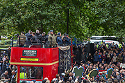 Speeches on a London open top bus before the Football Lads Alliance march between Park Lane and Westminster Bridge, London on 7 October 2017. Photo by Phil Duncan.