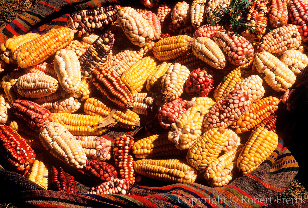 PERU, HIGHLAND, MARKETS Chincheros, selling types of corn