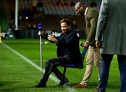 Danny Cipriani of Wasps takes a seat during a break while helping present BT Sports Live coverage of the Harlequins v Sale Sharks Premiership fixture - Mandatory by-line: Robbie Stephenson/JMP - 06/10/2017 - RUGBY - Twickenham Stoop - London, England - Harlequins v Sale Sharks - Aviva Premiership