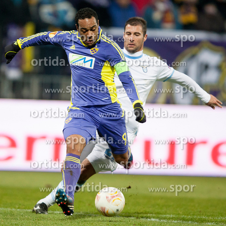 Marcos Tevares #9 of Maribor during football match between NK Maribor and S. S. Lazio Roma  (ITA) in 6th Round of Group Stage of UEFA Europa league 2013, on December 6, 2012 in Stadium Ljudski vrt, Maribor, Slovenia. (photo by Urban Urbanc / Sportida.com)
