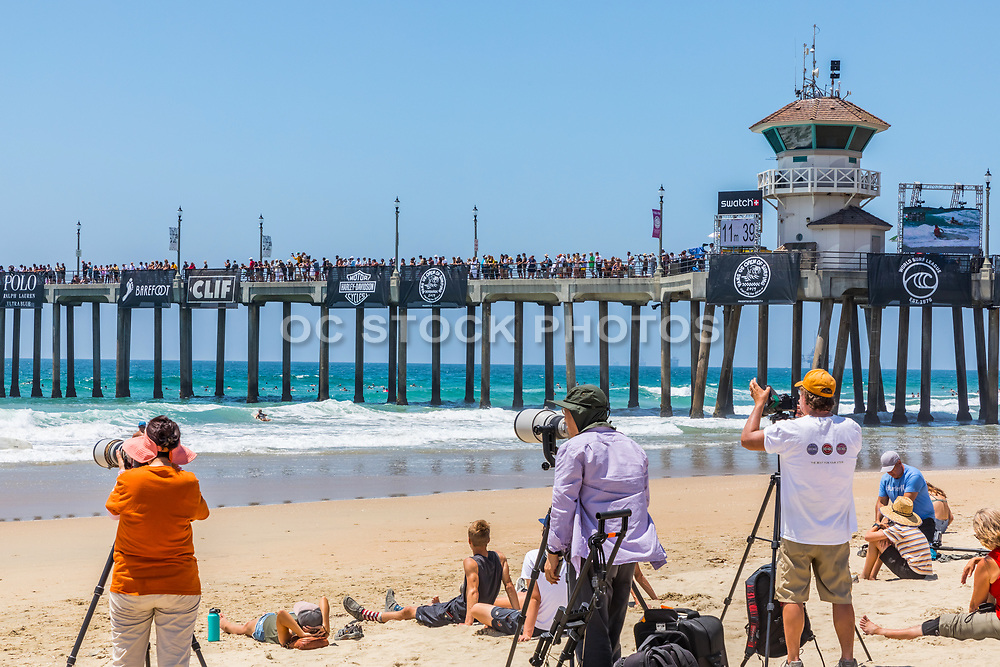 Photographers on the Beach at the Vans US Open of Surfing Competition in Huntington Beach