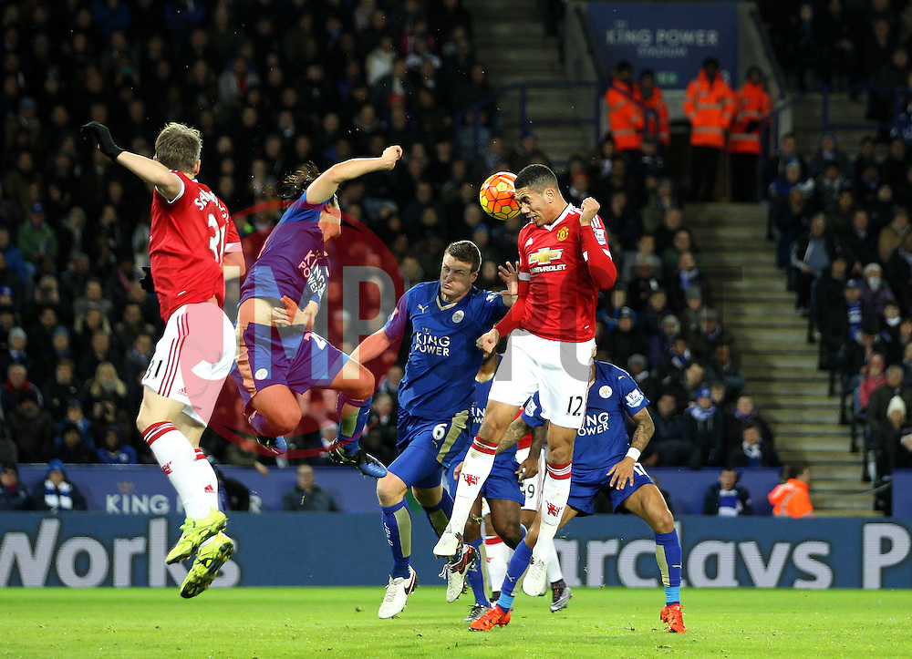 Chris Smalling of Manchester United heads the ball - Mandatory byline: Robbie Stephenson/JMP - 28/11/2015 - Football - King Power Stadium - Leicester, England - Leicester City v Manchester United - Barclays Premier League