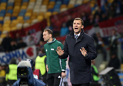 October 9, 2017 - Kiev, Ukraine - Ukraine's coach Andriy Shevchenko shouts instructions to his players during the World Cup Group I qualifying soccer match between Ukraine and Croatia at the Olympic Stadium in Kiev. Ukraine, Monday, October 9, 2017  (Credit Image: © Danil Shamkin/NurPhoto via ZUMA Press)