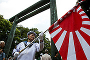 Nationalists parading at the Yasukuni shrine on the end of WWII aniversary