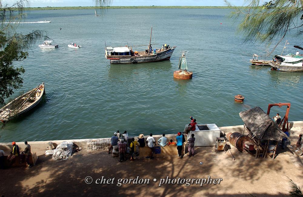 Moored boats along the coast in Lamu, Kenya on Saturday, May 13, 2006.