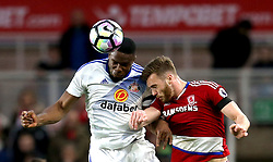 Victor Anichebe of Sunderland challenges Calum Chambers of Middlesbrough to a header - Mandatory by-line: Robbie Stephenson/JMP - 26/04/2017 - FOOTBALL - Riverside Stadium - Middlesbrough, England - Middlesbrough v Sunderland - Premier League