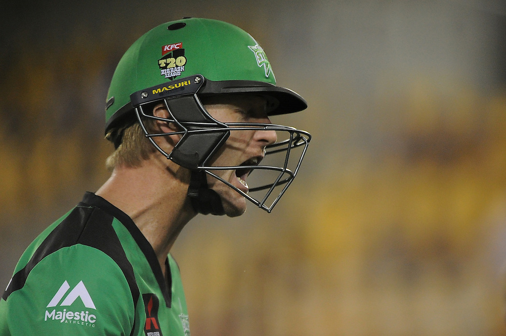BRISBANE, AUSTRALIA - DECEMBER 28:  Cameron White of the Stars reacts after being dismissed during the Big Bash League match between the Brisbane Heat and the Melbourne Stars at The Gabba on December 28, 2014 in Brisbane, Australia.  (Photo by Matt Roberts - CA/Cricket Australia/Getty Images)
