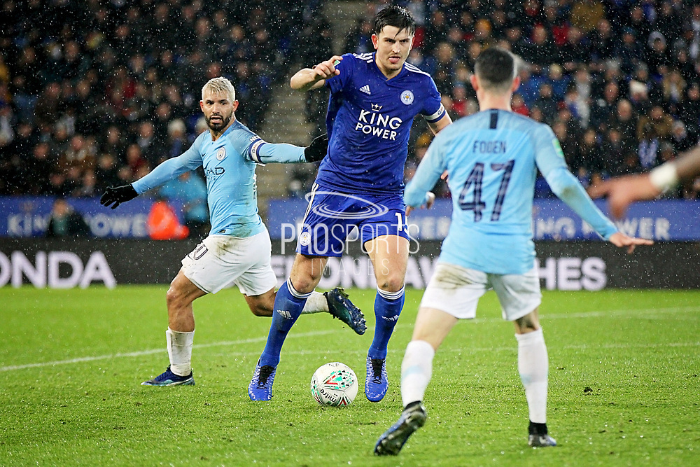 Leicester City defender Harry Maguire (15) during the quarter final of the EFL Cup match between Leicester City and Manchester City at the King Power Stadium, Leicester, England on 18 December 2018.