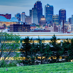 View of Kansas City skyline at dusk from Penn Valley Park.