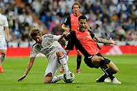 Real Madrid´s Fabio Coentrao and Almeria's Edgar Antonio Mendez during 2014-15 La Liga match between Real Madrid and Almeria at Santiago Bernabeu stadium in Madrid, Spain. April 29, 2015. (ALTERPHOTOS/Luis Fernandez)
