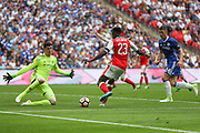 Arsenal's Danny Welbeck(23) shoots at goal saved by Chelsea goalkeeper Thibaut Courtois(13) during the The FA Cup final match between Arsenal and Chelsea at Wembley Stadium, London, England on 27 May 2017. Photo by Shane Healey.