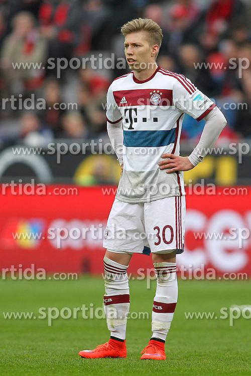 02.05.2015, BayArena, Leverkusen, GER, 1. FBL, Bayer 04 Leverkusen vs FC Bayern Muenchen, 31. Runde, im Bild Mitchell Weiser (FC Bayern Muenchen #30) // during the German Bundesliga 31th round match between Bayer 04 Leverkusen and FC Bayern Munich at the BayArena in Leverkusen, Germany on 2015/05/02. EXPA Pictures &copy; 2015, PhotoCredit: EXPA/ Eibner-Pressefoto/ Sch&uuml;ler<br /> <br /> *****ATTENTION - OUT of GER*****