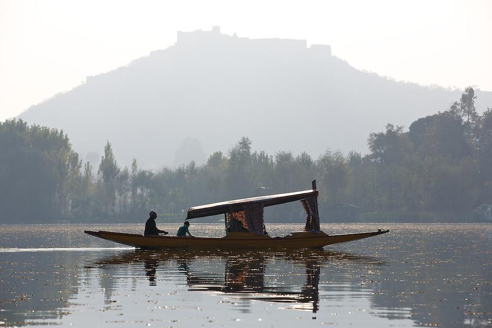 Shikara, Dal lake, Srinagar, Jammu and Kashmir, India.