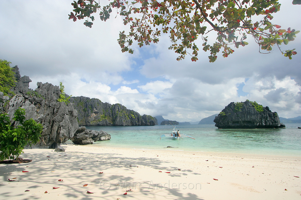 A white sandy beach on a tropical island in the Bacuit Archipelago, Palawan, Philippines