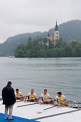 Croatia's rowers after winning during Men's Quadruple Sculls during finals of Rowing World Cup  on May 30, 2010, at Bled's lake, Bled, Slovenia. (Photo by Vid Ponikvar / Sportida)