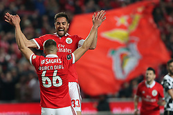 February 17, 2018 - Lisbon, Portugal - Benfica's Portuguese defender Ruben Dias (66) celebrates with Benfica's Brazilian defender Jardel after scoring during the Portuguese League football match SL Benfica vs Boavista FC at the Luz stadium in Lisbon on February 17, 2018. (Credit Image: © Pedro Fiuza/NurPhoto via ZUMA Press)