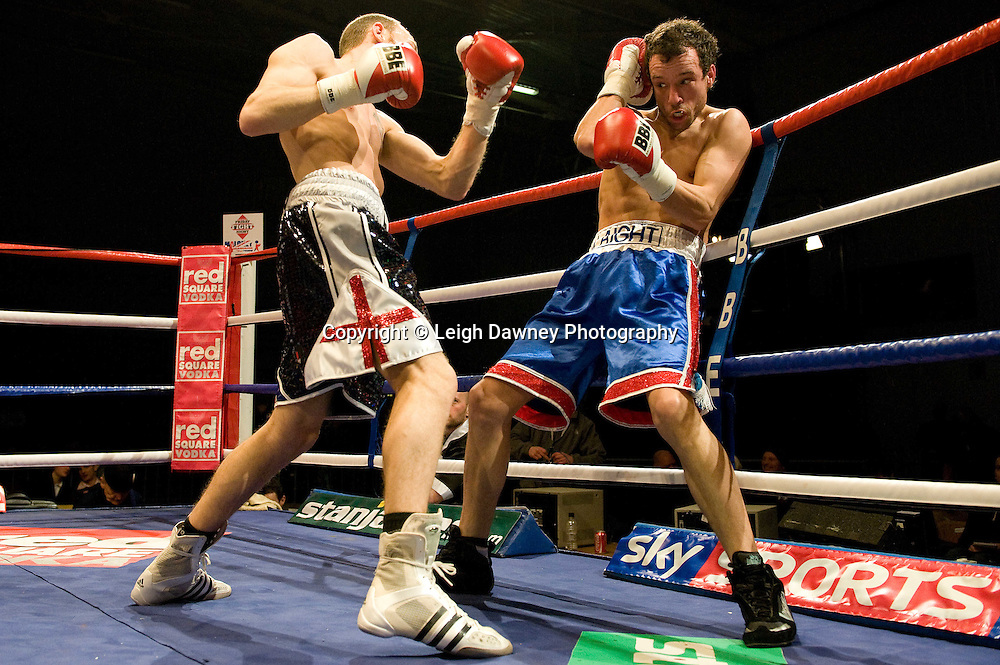 Dale Miles defeats Kristian Laight (blue shorts) at the Harvey Hadden Leisure Centre 5th February 2010 Frank Maloney Promotions. Photo credit © Leigh Dawney
