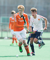 ROTTERDAM -    David Luijckx  (Neth)  with Elliott Killington  (Eng).     Practice Match  Hockey : Netherlands Boys U16  v England U16 . COPYRIGHT KOEN SUYK
