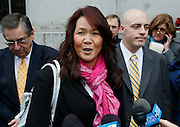 Juror number 1 talks the the media about her guilty verdict in the Brian David Mitchell trial outside federal court Friday, Dec. 10 2010 in Salt Lake City. Mitchell was found guilty for the June 5 2002 abduction of Elizabeth Smart. (AP Photo/Colin E Braley)
