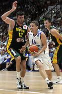 4.8.2014, Jäähalli, Helsinki, Finland.<br /> Koripallomaaottelu Suomi - Liettua / Basketball Friendly International match, Finland v Lithuania.<br /> Roope Ahonen (Finland) v Ksystof Lavrinovic (Lithuania).