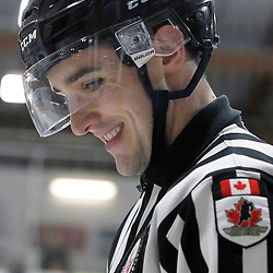 TRENTON, - Apr 17, 2016 -  Ontario Junior Hockey League game action between the Trenton Golden Hawks and the Georgetown Raiders. Game 3 of the Buckland Cup Championship Series, OHA Linesman at the Duncan Memorial Gardens, ON. (Photo by Amy Deroche / OJHL Images)