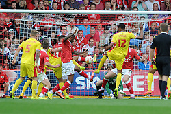 Bristol City's Mark Little clears the ball from a goal mouth scramble - Photo mandatory by-line: Dougie Allward/JMP - Mobile: 07966 386802 - 27/09/2014 - SPORT - Football - Bristol - Ashton Gate - Bristol City v MK Dons - Sky Bet League One