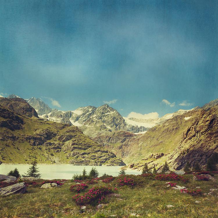 Alpine landscape - view of Sasso Rosso massif in the italian alps