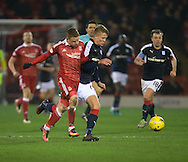 Dundee&rsquo;s Mark O&rsquo;Hara goes past Aberdeen&rsquo;s Jonathan Hayes - Aberdeen v Dundee in the Ladbrokes Scottish Premiership at Pittodrie, Aberdeen - Photo: David Young, <br /> <br />  - &copy; David Young - www.davidyoungphoto.co.uk - email: davidyoungphoto@gmail.com