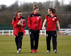 Bristol City Women players, Jodie Brett, Grace McCatty and Corinne Yorston inspect the pitch ahead of the FA Cup fourth round match between Bristol City Women and Yeovil Town Ladies at Stoke Gifford Stadium on 28 February 2016 in Bristol, England - Mandatory by-line: Paul Knight/JMP - Mobile: 07966 386802 - 28/02/2016 -  FOOTBALL - Stoke Gifford Stadium - Bristol, England -  Bristol City Women v Yeovil Town Ladies - FA Cup fourth round
